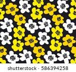 vivid color summer floral... | Shutterstock .eps vector #586394258