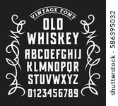 old whiskey label font  ... | Shutterstock .eps vector #586395032