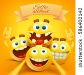 yellow smiley emoji faces... | Shutterstock .eps vector #586402142