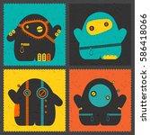 set of four retro postage s... | Shutterstock .eps vector #586418066