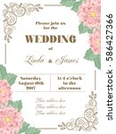 wedding invitation with flowers ... | Shutterstock .eps vector #586427366