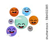 trappist 1 system cute vector... | Shutterstock .eps vector #586432385