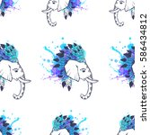 pattern with elephant...   Shutterstock .eps vector #586434812