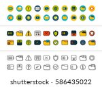 black and color outline icons... | Shutterstock .eps vector #586435022