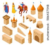 medieval castle elements... | Shutterstock .eps vector #586437548