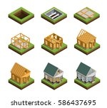 house construction phases... | Shutterstock .eps vector #586437695