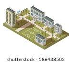 isometric university big... | Shutterstock .eps vector #586438502
