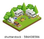 recreational vehicles isometric ... | Shutterstock .eps vector #586438586