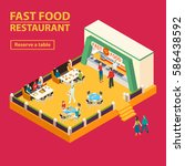 fast food square banner with... | Shutterstock .eps vector #586438592
