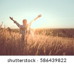 beautiful young woman in a... | Shutterstock . vector #586439822