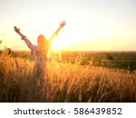 beautiful young woman in a... | Shutterstock . vector #586439852