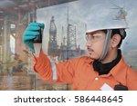 double exposure of workers... | Shutterstock . vector #586448645