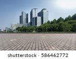 empty floor with modern skyline ... | Shutterstock . vector #586462772