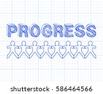 progress text hand drawn with... | Shutterstock .eps vector #586464566