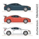 car illustration. side view of... | Shutterstock .eps vector #586464632