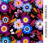 seamless floral dark pattern... | Shutterstock . vector #58648126