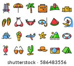 summer beach icons set in line... | Shutterstock .eps vector #586483556