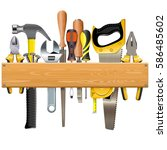 vector wooden plank with tools | Shutterstock .eps vector #586485602