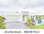 Luxurious House Front View  Sky ...