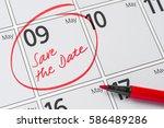 save the date written on a... | Shutterstock . vector #586489286