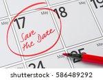 save the date written on a... | Shutterstock . vector #586489292