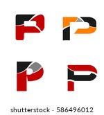 logo letter p. element and... | Shutterstock .eps vector #586496012