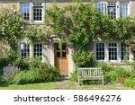 exterior view and garden lawn...   Shutterstock . vector #586496276