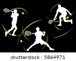 tennis players  vector  | Shutterstock .eps vector #5864971