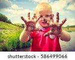 child little blonde boy kid... | Shutterstock . vector #586499066