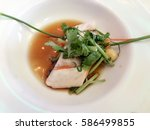 fish fillet soup in white bowl... | Shutterstock . vector #586499855