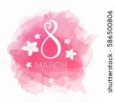 8 march womens day card vector  | Shutterstock .eps vector #586500806