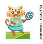 cat in sportswear playing tennis   Shutterstock .eps vector #586505765