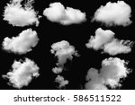 set of clouds white on isolated ... | Shutterstock . vector #586511522