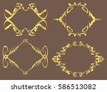 set of 4 gold glitter frames... | Shutterstock .eps vector #586513082