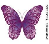 beautiful butterfly doodle | Shutterstock .eps vector #586513322