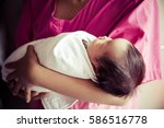 cute girl newborn baby two day... | Shutterstock . vector #586516778