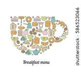 breakfast menu concept.... | Shutterstock .eps vector #586523066