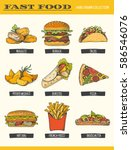 fast food collection. vector... | Shutterstock .eps vector #586546076