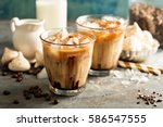 iced coffee with milk ... | Shutterstock . vector #586547555