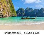 the famous maya bay. krabi... | Shutterstock . vector #586561136