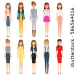 set of woman character of... | Shutterstock .eps vector #586564016