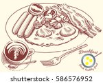 hand drawn breakfast... | Shutterstock .eps vector #586576952