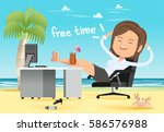 the fantasy of relaxation after ... | Shutterstock .eps vector #586576988
