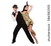 cabaret dancer couple dancing.... | Shutterstock . vector #586582505
