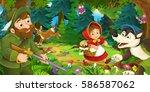 cartoon scene with wolf girl... | Shutterstock . vector #586587062