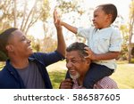 grandfather with son and... | Shutterstock . vector #586587605