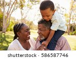 grandparents and grandson... | Shutterstock . vector #586587746
