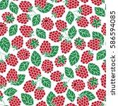 vector raspberry seamless...   Shutterstock .eps vector #586594085