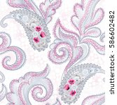 seamless pattern with floral... | Shutterstock . vector #586602482