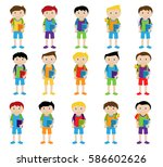 vector collection of cute and... | Shutterstock .eps vector #586602626